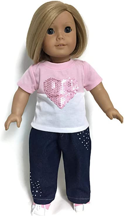 Denim Jean Pants with Rhinestones for 18 inch American Girl Doll Clothes