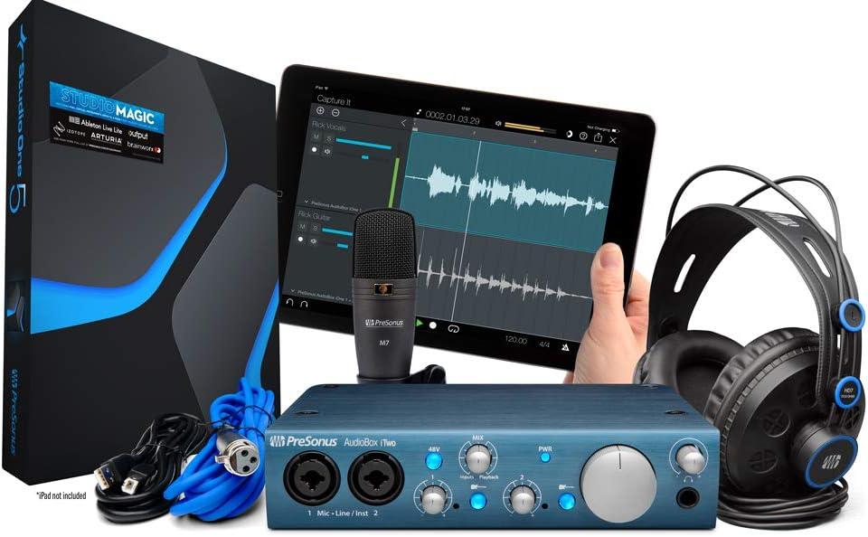 PreSonus AudioBox iTwo Studio USB 2.0 Recording Bundle with Interface, Headphones, Microphone and Studio One software: Amazon.es: Instrumentos musicales