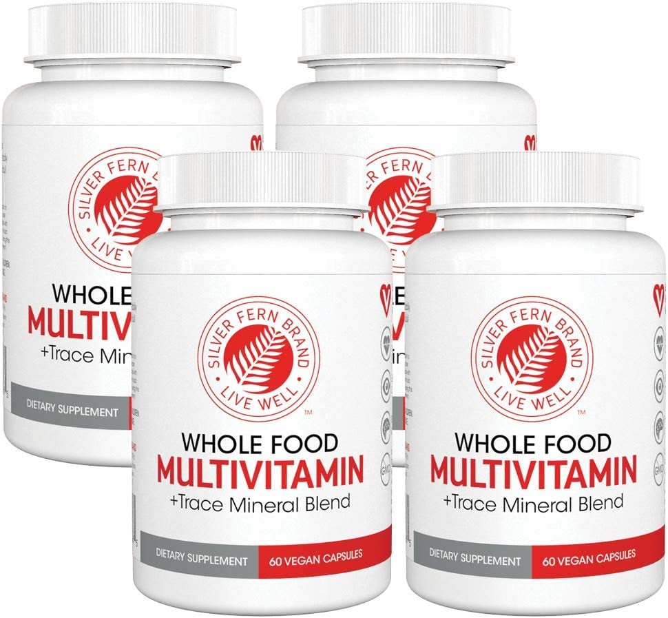 Silver Fern Whole Food Daily Multi Vitamin w/ Trace Mineral Blend Supplement - 4 Bottles - 60 Vegicaps Each - 120 Day Supply - Natural, Non-GMO, Vegan, Multivitamin for Man & Woman - Zero Synthetics