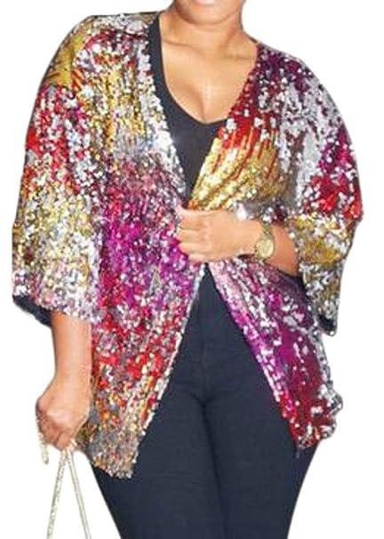 c23abe28 UUYUK Women Fashion Open-Front Contrast Glitter Sequins Cardigan ...
