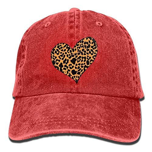 Yuerb Gorras béisbol Cheetah Heart Denim Hat Adjustable Womens Fitted Baseball Hats
