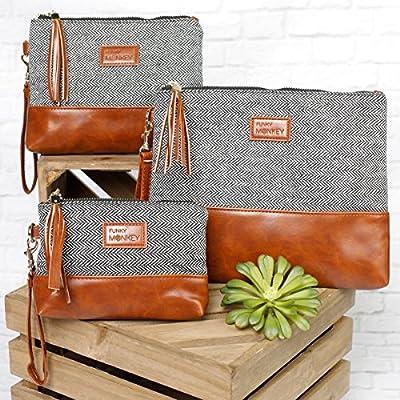 {Erika Collection} FunkyMonkey Fashion Wristlet Wallet Clutch Phone Purse Handbag 3 Sizes Black/Tan Style
