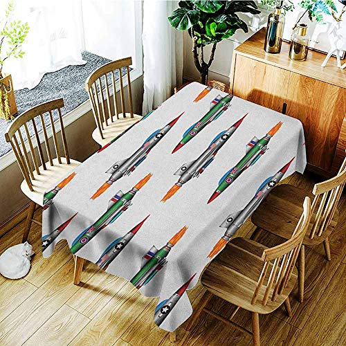 (XXANS Fashions Rectangular Table Cloth,Airplane,Collection of Jet Planes Aviation Attack Modern Technology United Kingdom Model,High-end Durable Creative Home,W54x90L Multicolor)