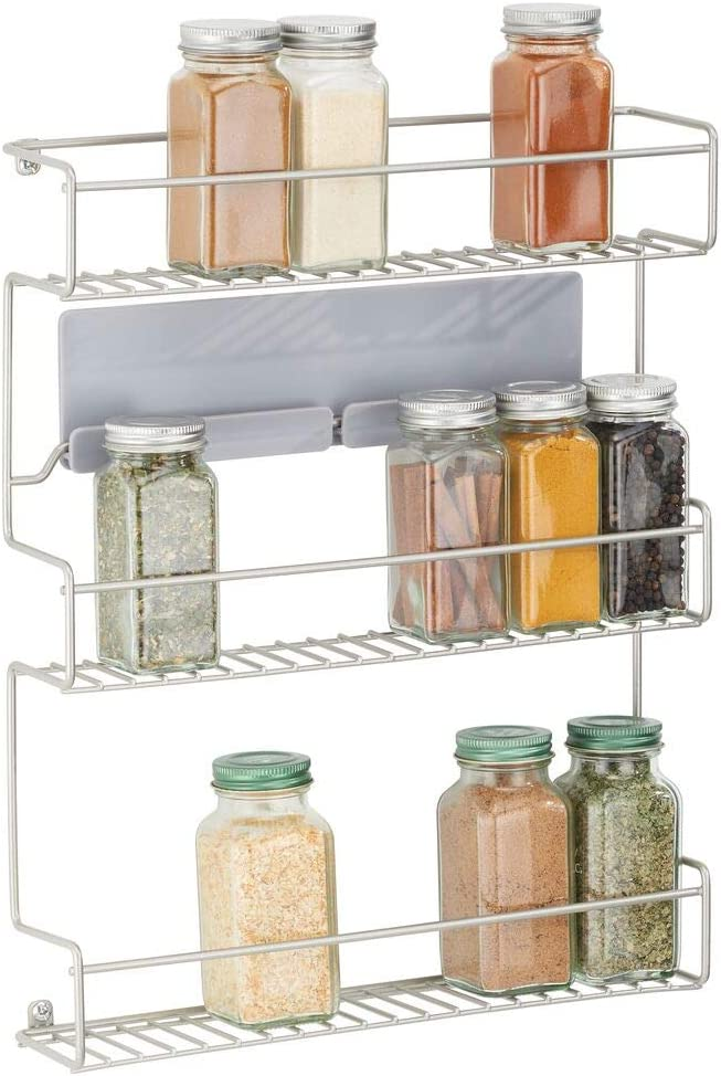 mDesign Metal Self-Adhesive Wall Mount Kitchen Spice Bottle Rack Holder, Food Storage Organizer for Cabinet, Cupboard, Pantry, Shelf - Holds Spices, Jars, Baking Supplies, Cans, 3 Tier - Satin