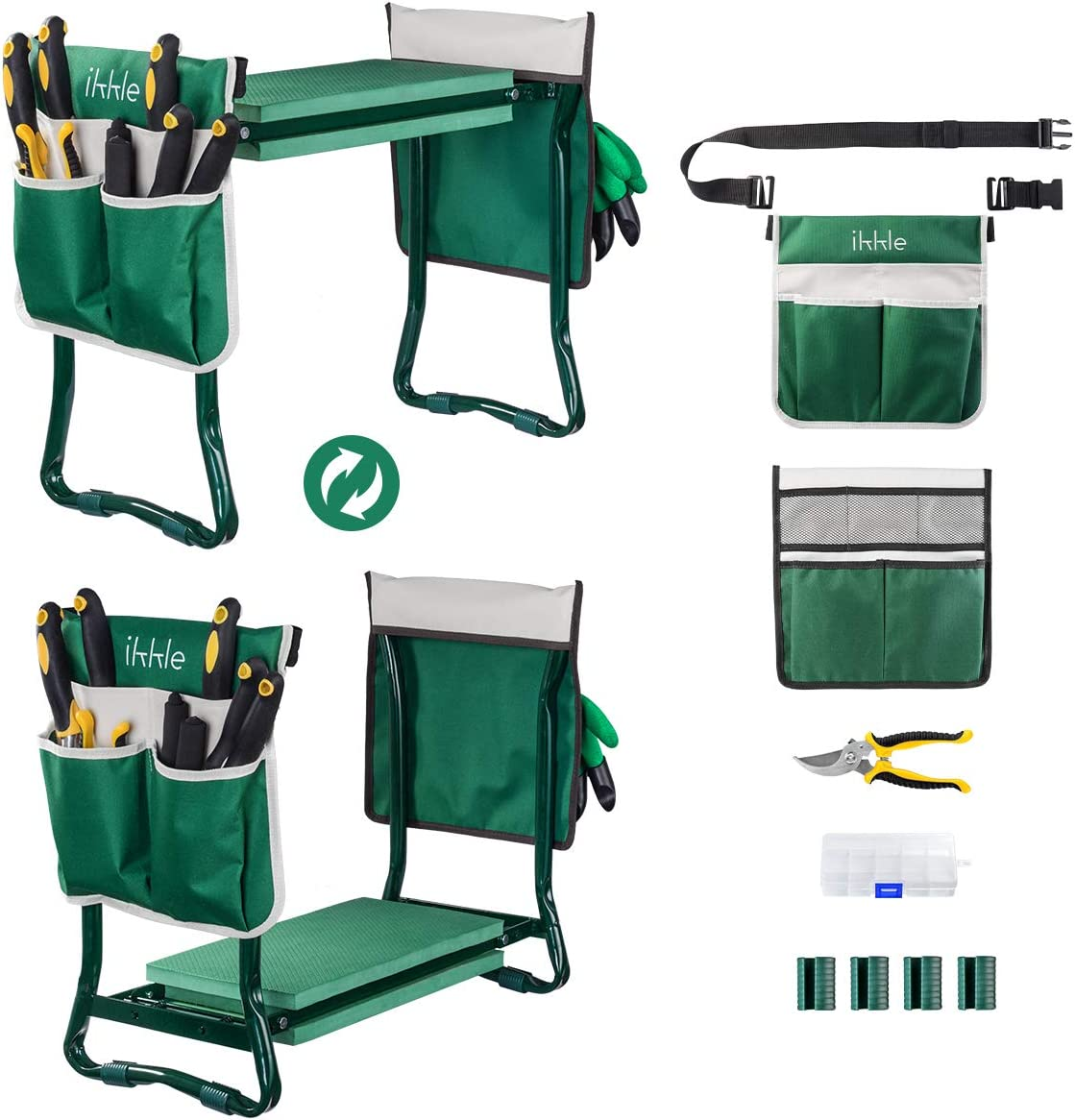 Garden Kneeler and Seat, Upgraded Folding Garden Bench Stool Portable Garden Kneeler Gardening Tools with 2 Free Tool Pouch, Detachable Belt, EVA Kneeling Pad, Pruning Shears, Ideal Gardening Gift