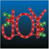 Lighted JOY Sign - Window-Door Hanging - Indoor/Outdoor Decoration - Holiday Decoration
