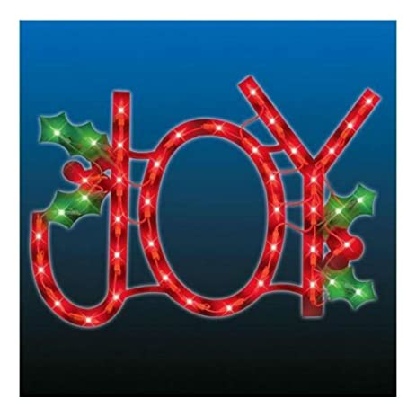lighted joy sign window door hanging indooroutdoor decoration holiday decoration - Joy Outdoor Christmas Decoration