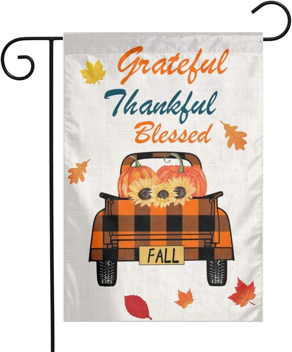 Vintage Truck Fall Halloween Thanksgiving Grateful Thankful Blessed Pumpkin Leave Sunflower Burlap Garden Porch Lawn Flag Farmhouse Decorations Mailbox Decor Welcome Sign 12x18 Mini Double Sided