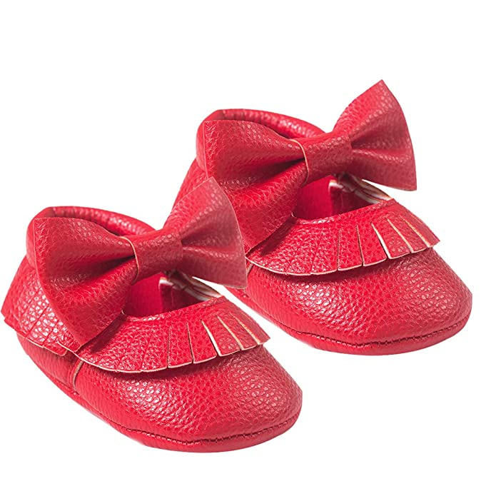 Red 13cm Alamana Fashion Flower Infant Baby Girls Soft Anti-Slip Boots Prewalker Toddler Shoes