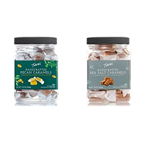 Tara's All Natural Handcrafted Gourmet Pecan Flavored Caramel: Small Batch, Kettle Cooked, 11.5 Ounce & All Natural Handcrafted Gourmet Sea Salt Caramel: Small Batch, Kettle Cooked - 11.5 Ounce