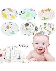 """Baby Muslin Washcloths Multi-Use Baby Wash Shower Towel 6 Layers Cotton Baby Wipes Pack of 6 (E, 12""""*12"""")"""