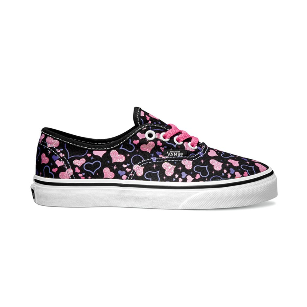 f5a717290a Galleon - Vans Girls Authentic (Sparkle Hearts)Black True White Sneakers  (3Y)