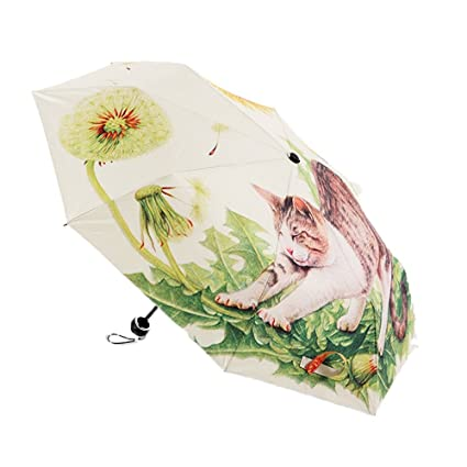 8547fcc40d63 Amazon.com: UMBREQI Cute Cat Pattern Women's Sun Umbrella Small ...