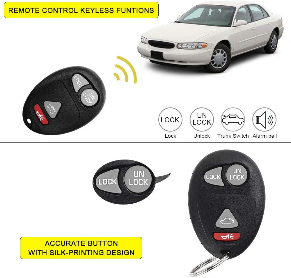YITAMOTOR 2 Key Fob Replacement for L2C0007T Keyless Entry Remote 4-Button Compatible for Buick Regal Century Pontiac Grand Prix