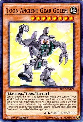 DRL2-EN022 3x Toon Ancient Gear Golem Super Rare 1st edition Yu-Gi-Oh