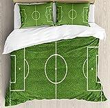 IDOWMAT Teen Room Decor Twin Duvet Cover Sets 4 Piece Bedding Set Bedspread with 2 Pillow Sham, Flat Sheet for Adult/Kids/Teens, Soccer Field Grass Motif Stadium Game Match Winner Sports Area Print