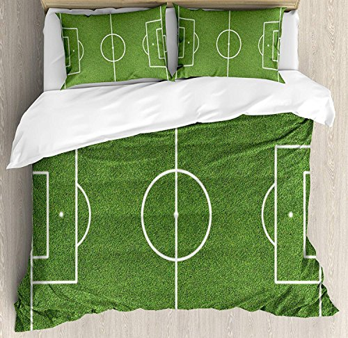 Teen Room Decor 3 Piece Bedding Set Duvet Cover Set,Soccer Field Grass Motif Stadium Game Match Winner Sports Area Print, 3 Pcs Comforter/Qulit Cover Set with 2 Pillow Cases,Fern Green White King ()