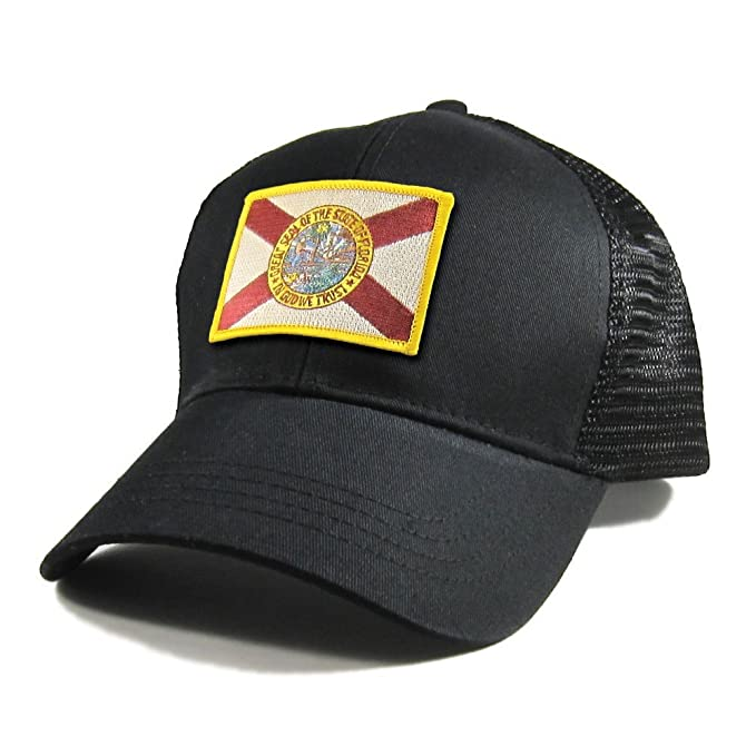 a9c3e1a6b78 Homeland Tees Men s Florida Flag Patch All Black Trucker Hat - Gold Border