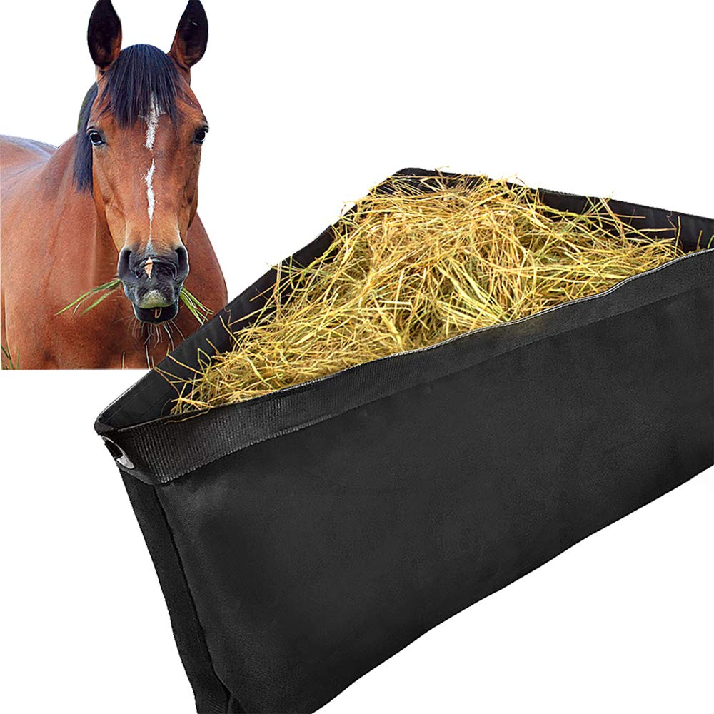 ASOOLL Black Deep Corner Feeder for Horses with Mesh Bottom Stall Trailer Hay Bags with Snaps by ASOOLL