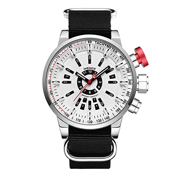 WEIDE Reloj Deportivo analógico Digital LED de Cuarzo Negro Correa de Nylon Esfera Blanca: Amazon.es: Relojes