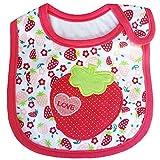 Yonger Cotton Cute Cartoon 3 Layer Toddler Baby Waterproof Saliva Towel Baby Bibs Burp Cloths (Strawberry)