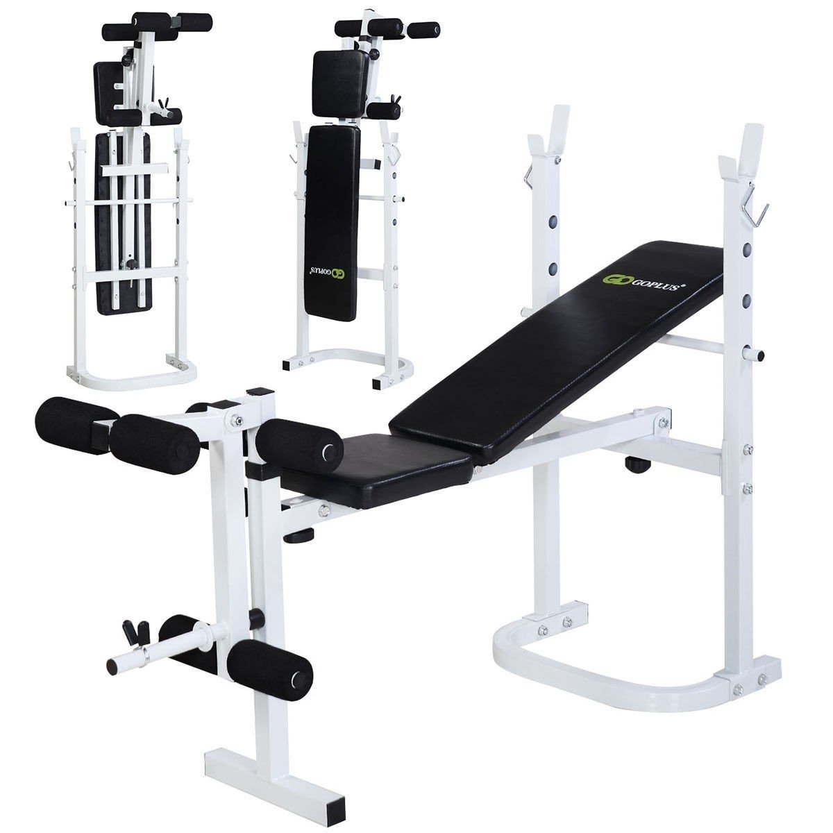 Costway Olympic Folding Weight Bench Incline Lift Workout Press Home by Apontus