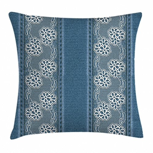 - Ambesonne Floral Throw Pillow Cushion Cover, Blue Jeans Background with White Flower Motifs Pattern Denim Themed Digital Print, Decorative Square Accent Pillow Case, 20 X 20 Inches, Blue White