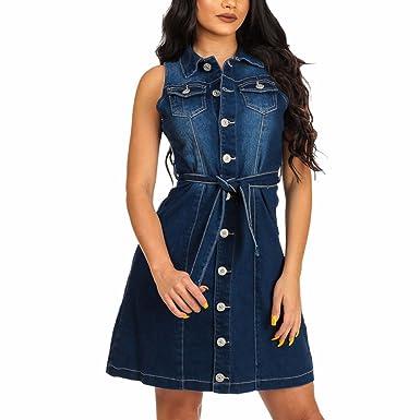 fc3e4e5fe41a64 NEU Denim Hemd Kleid Damen Mini Jeanskleid Damenkleid Jeans,Damen Jeans  skirt Frauen Langarm Slim