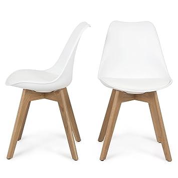 Ordinaire Belleze Retro DSW Mid Century Style Molded Plastic Chair Side Premium  Wooden Leg, White,