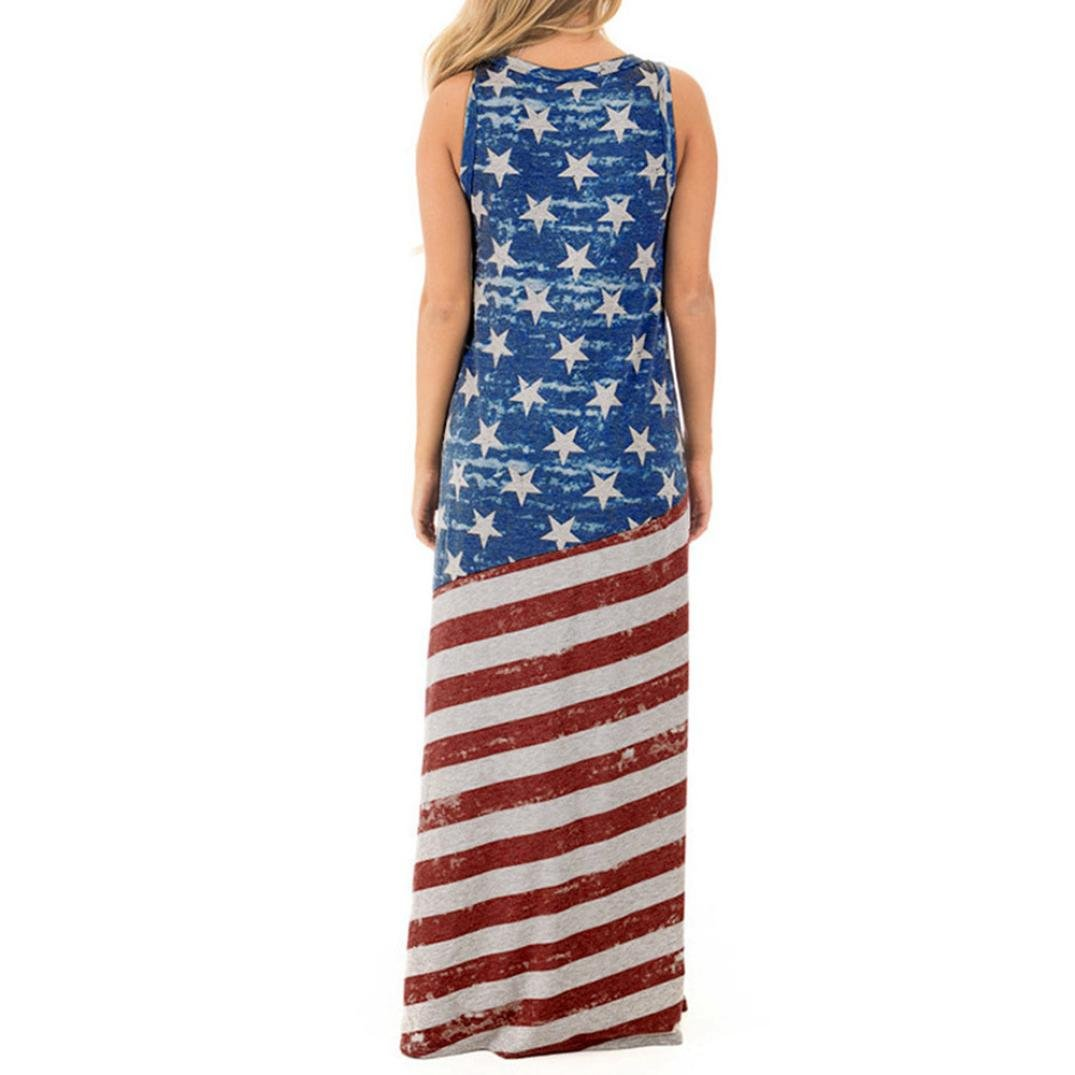 676a6fd8cf82 WYTong Ladies Patriotic Vintage Star and Stripe Printed Maxi Dress Women  Loose USA American Flag Long Tank Sundress at Amazon Women's Clothing store: