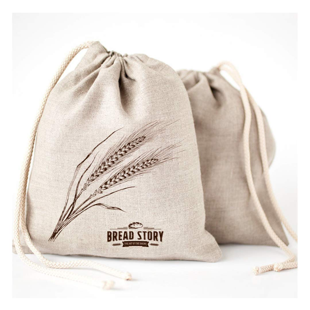 Natural Linen Bread Bags - 2-Pack 11 x 15'' Ideal for Homemade Bread, Unbleached, Reusable Food Storage, Housewarming, Wedding Gift, Storage for Artisan Bread - Bakery & Baguette