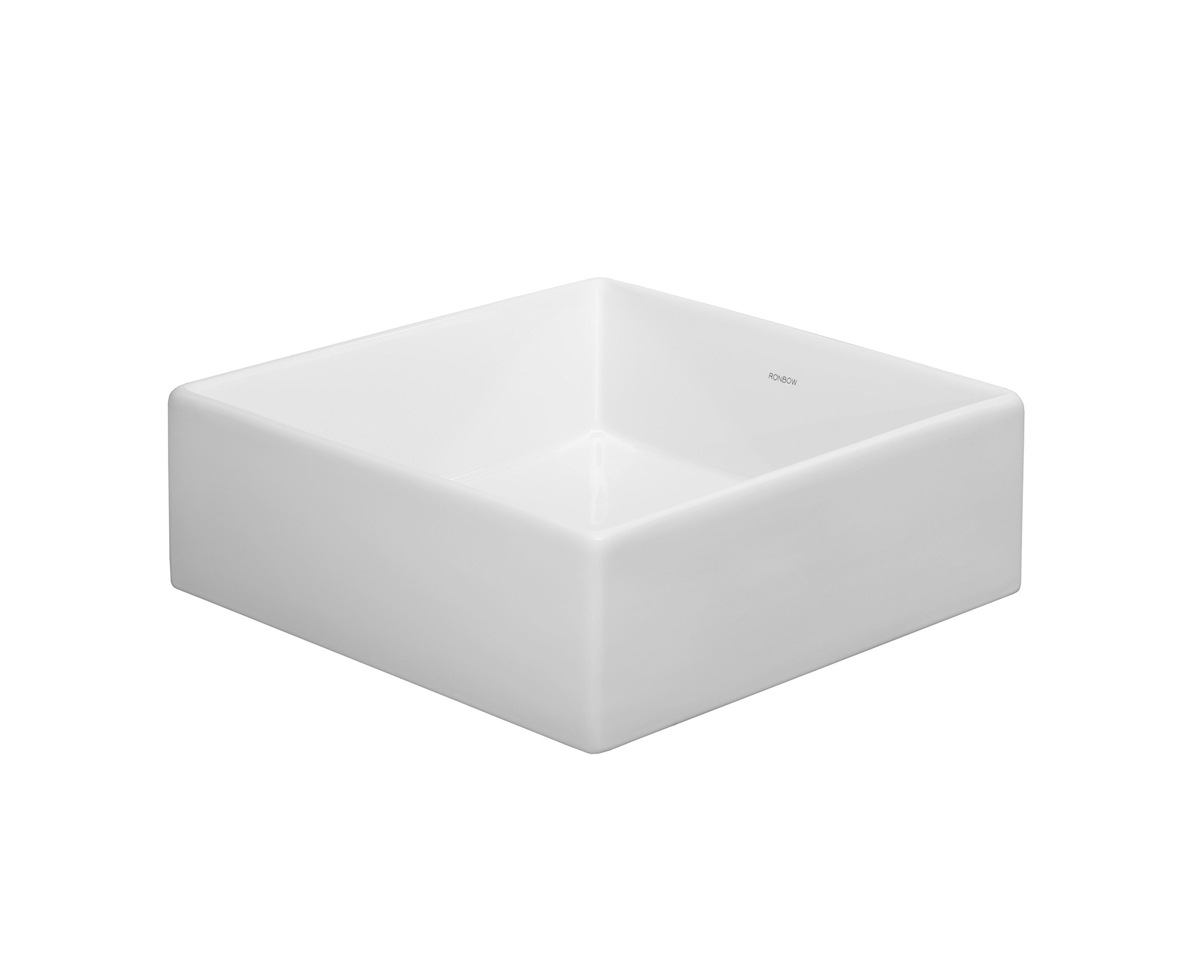 RONBOW Frame 14 Inch Square Tapered Ceramic Vessel Bathroom Sink in White 200034-WH