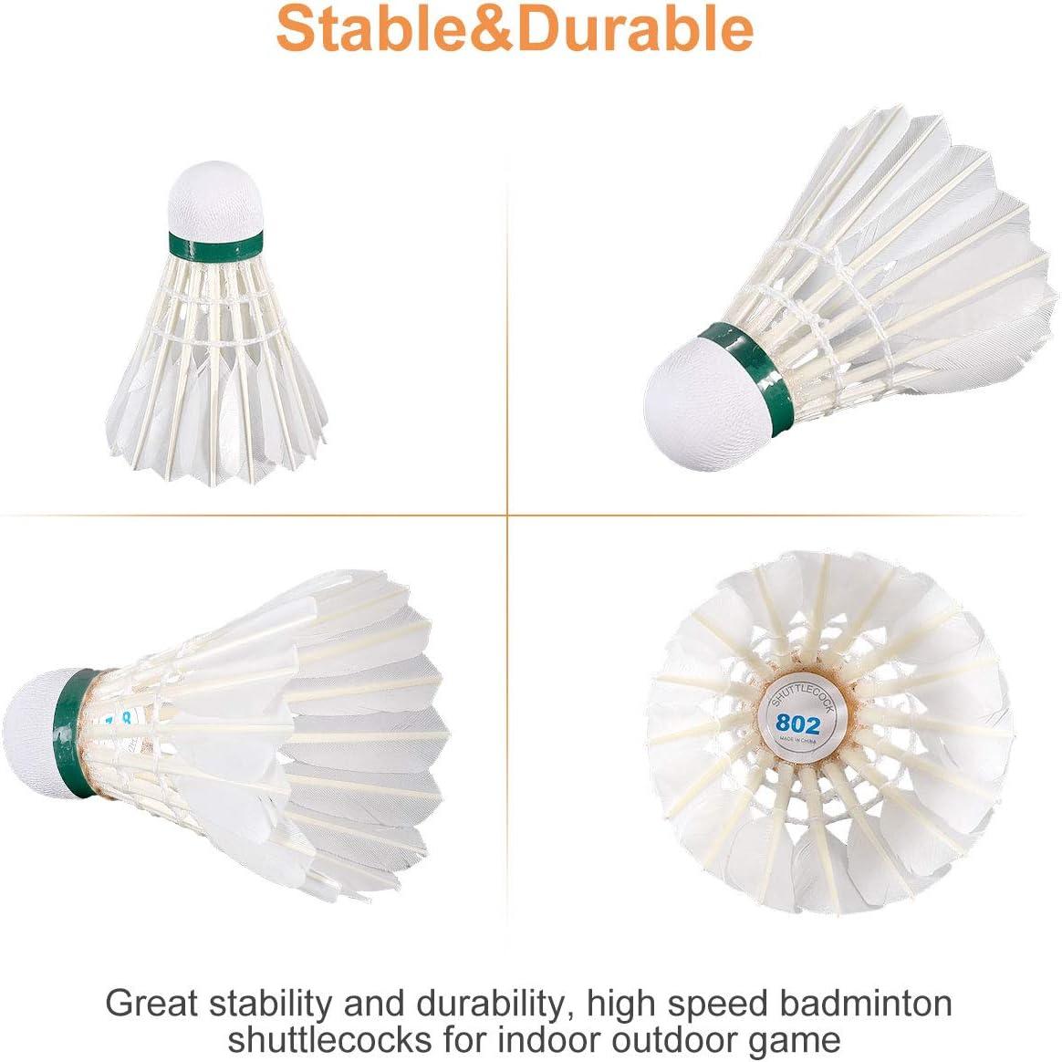 Fostoy Volantes de B/ádminton Bolas de B/ádminton de Alta Velocidad para Juegos en Interiores y Exteriores Paquete de 18 Volantes de Plumas de Ganso con Gran Estabilidad y Durabilidad