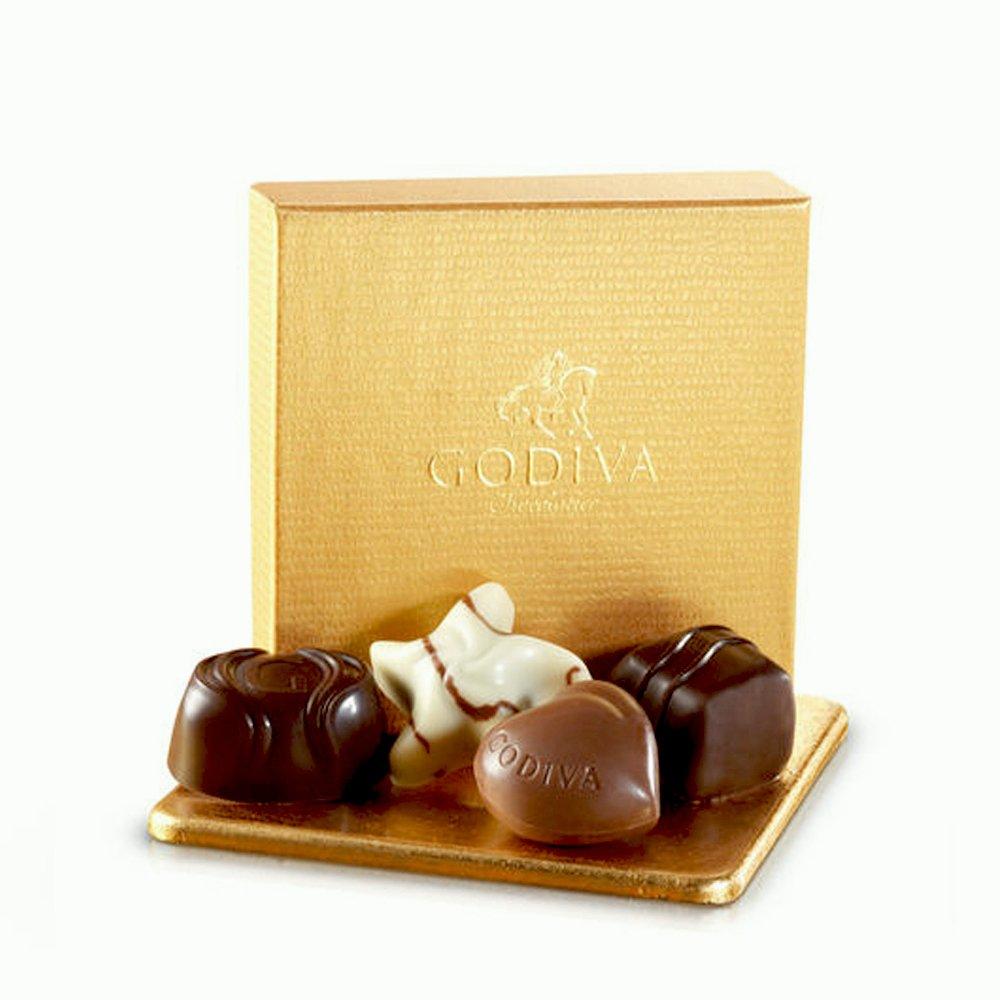 Godiva Chocolatier Assorted Chocolate Gold Favor Box, White Ribbon, Chocolate Wedding Favors, Birthday Favors, Set of 12 by GODIVA Chocolatier (Image #2)