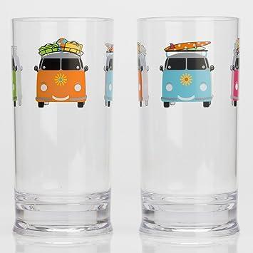 Acryl Trinkglas 480 Ml 2 Stuck Bunt Vw Bus Camping Glaser Zubehor