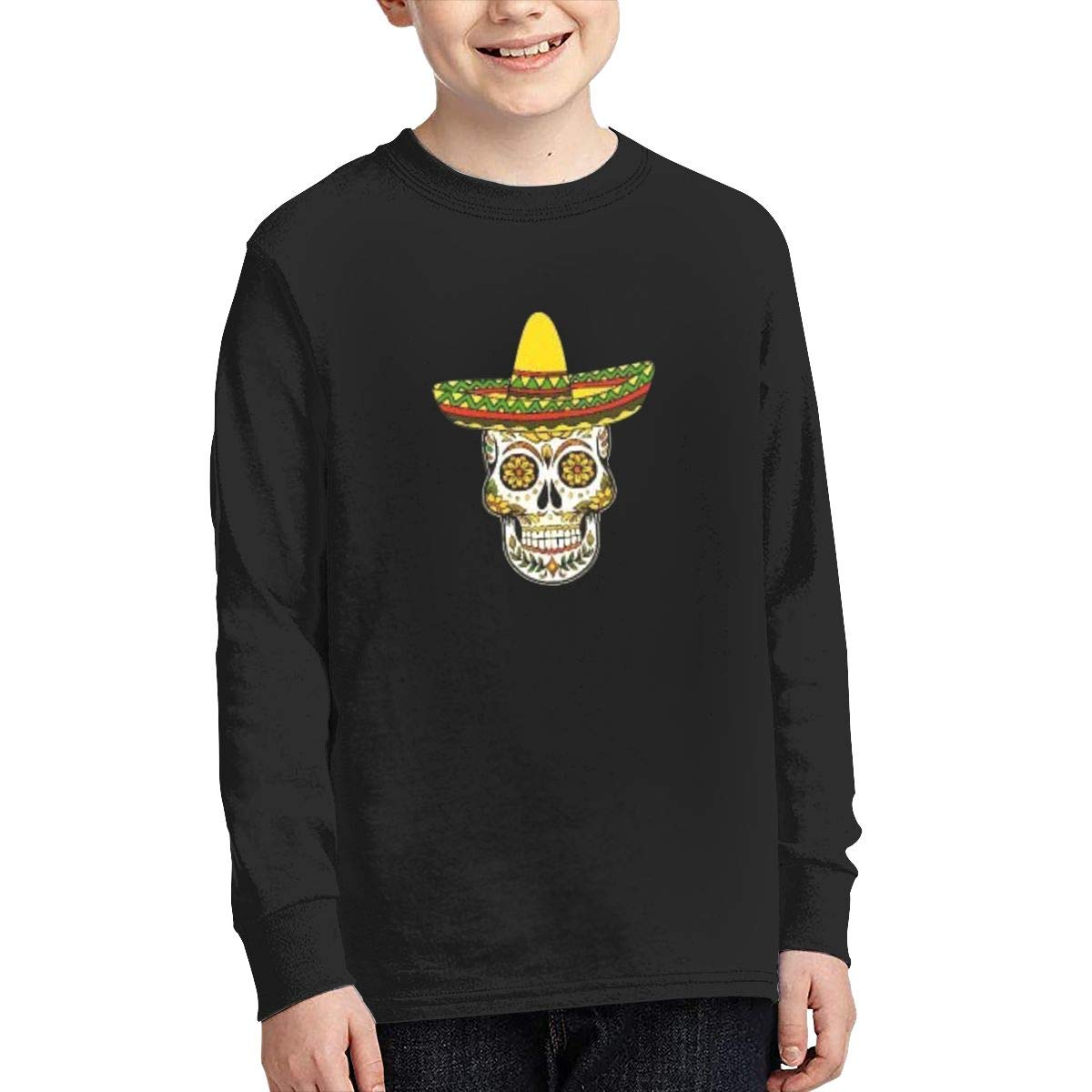 Mexican Sugar Skull Sombrero Youth Long Sleeve Moisture Wicking Athletic T Shirts Casual Tee Graphic Tops for Teen Boys Girls
