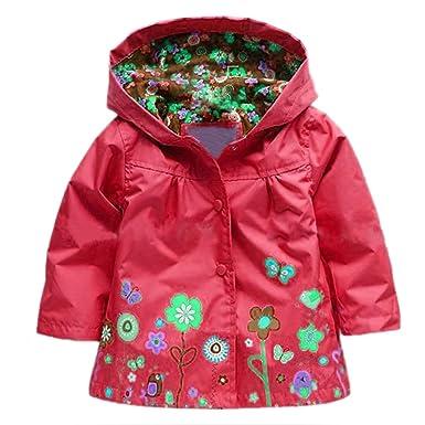 6d83cadacaf0d Arshiner Enfant Fille Manteau Imperméable Capuche Manteau Pluie Manche Long  Fleur  Amazon.fr  Vêtements et accessoires