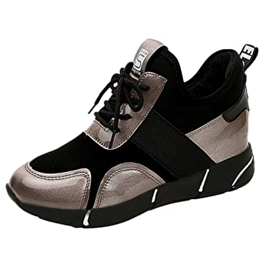 Zapatillas Deportivas de Mujer Negras,YiYLunneo Color Cabeza Redonda A Juego Shoes Malla Letras Sneakers Zapatos Cordones Calientes Zapatillas Correr: ...