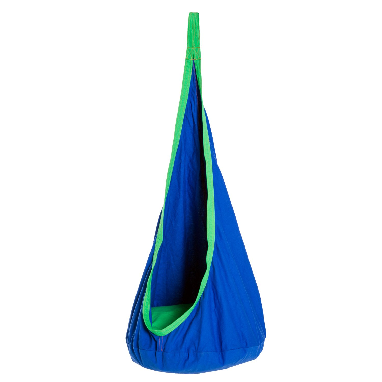 HOMCOM H/ängeh/öhle Kinder H/ängesessel Kinderh/ängesitz mit Sitzkissen Baumwolle Blau Ф70xH150cm