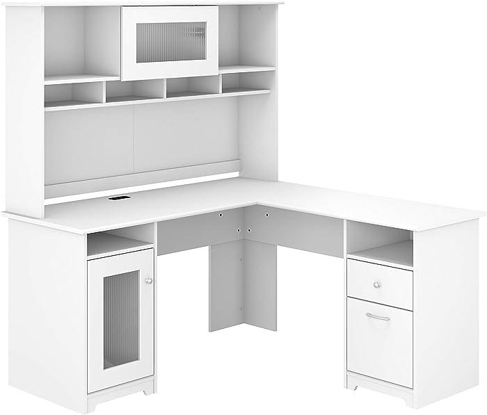 Bush Furniture Cabot 60W L Shaped Computer Desk with Hutch, White