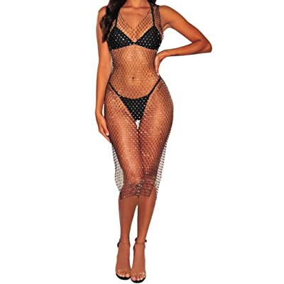 Flyrose Women Sexy See Through Mesh Beach Bikni Swimsuit Sleeveless Cover up Rhinestone Midi Dress: Clothing