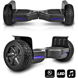 CHO All Terrain Black Rugged 8.5 Inch Wheels Hoverboard Off-Road Smart Self Balancing Electric Scooter With built-In Bluetooth Speaker LED Lights UL2272 Certified