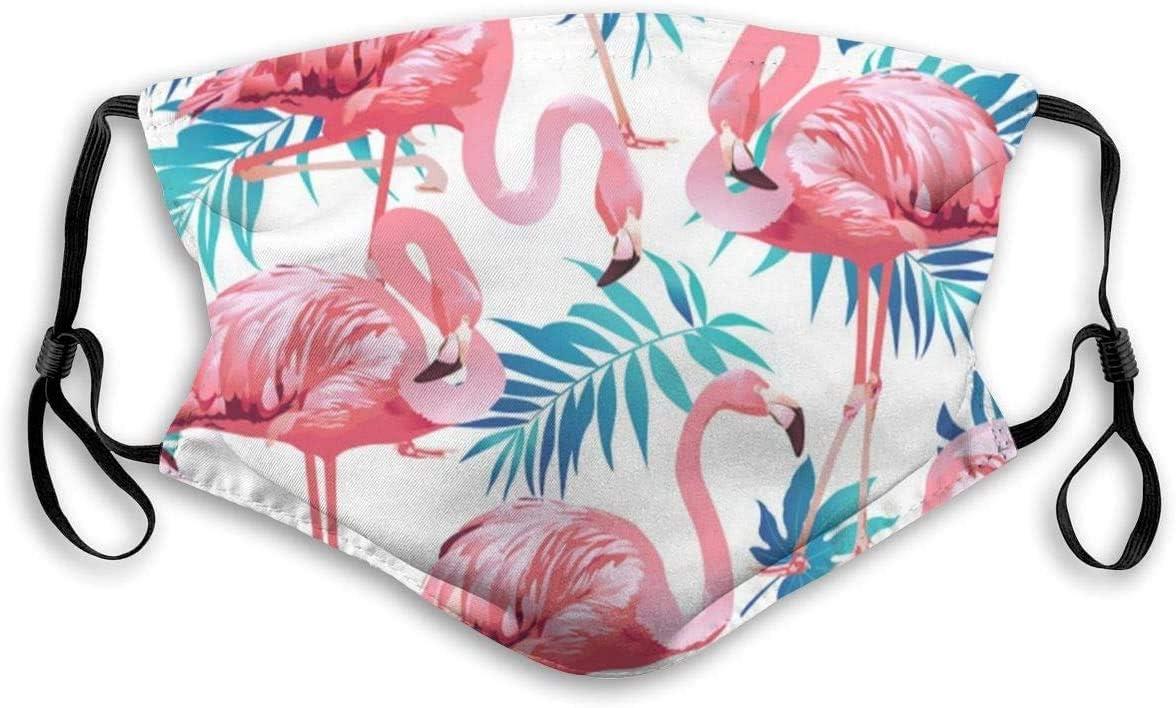 Mundschutz mit Filter Flamingo Bird Green Leaf Bedruckter Staubgesichtsschutz f/ür Staub Mundschutz Anti-Staubschutz f/ür Kinder Frauen und M/änner