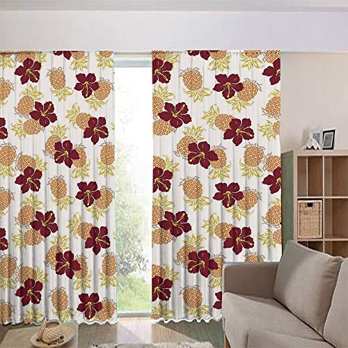 iPrint Modern Blackout Curtains for Window Treatment Blinds Finished Drapes Europe Window Curtains,Pineapples Flower Tropical Fruits Garden Leaf 84Wx84L Inch