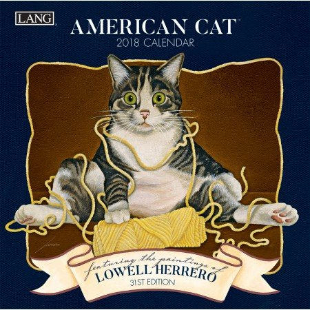 "LANG - 2018 Mini Wall Calendar - ""American Cat"", Artwork by Lowell Herrero - 12 Month - Open Size  7"" x 14"""