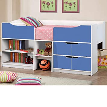 Happy Beds Paddington Cabin Bed Wooden White And Blue Storage