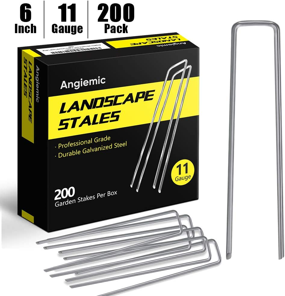 Angiemic 200 Pack 6 Inch Galvanized Landscape Staples 11 Gauge Garden Stakes Ground Staples Sturdy Rustproof Landscaping Staples Sod Pins for Anchoring Weed Barrier Landscape Fabric Ground Cover Fence