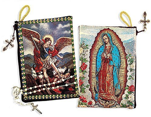 Needzo Religious Gifts Saint St Michael with Our Lady of Guadalupe Cloth Tapestry Pouch 5 3/8 Inch