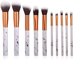 Luxsea Professnial Women Makeup Brushes Extremely Soft Makeup Brush Set 10pcs Foundation Powder Brush Marble Make Up Tools