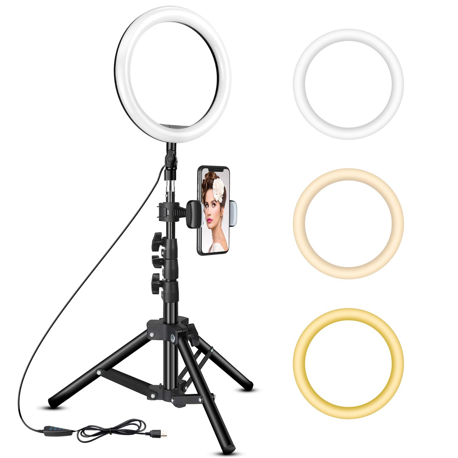 10 inch Ring Light with Tripod Stand - Rovtop LED Camera Selfie Light Ring with iPhone Tripod and Phone Holder for Video Photography Makeup Live Streaming, Compatible with iPhone and Android Phone by Rovtop